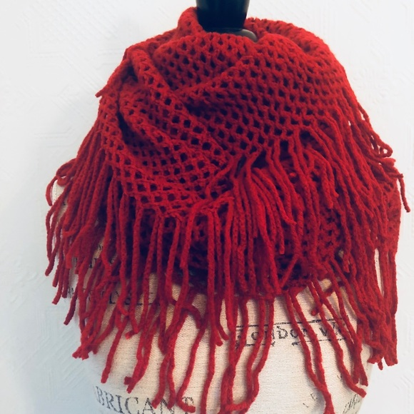 Accessories Red Infinity Scarf Open Weave With Fringe Knit Poshmark